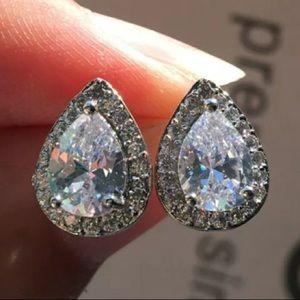 White Gold Pear Tear Drop Diamond Halo Earrings